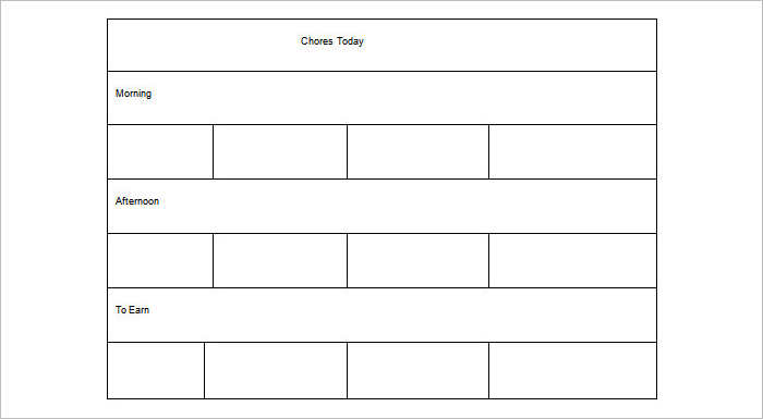 Weekly Chore Chart Template 31 Free Word Excel PDF - visualbrainsinfo