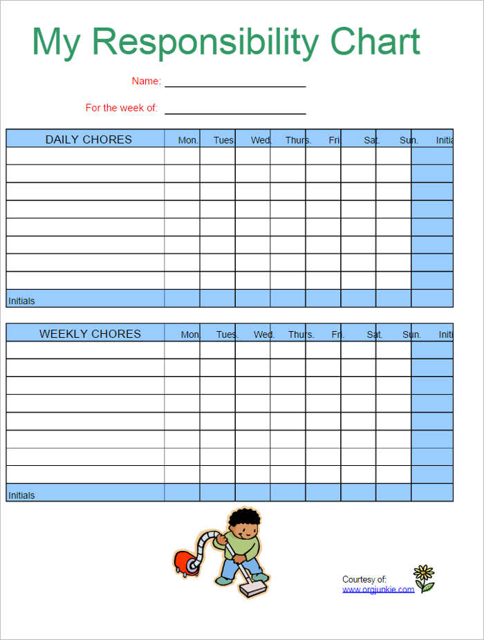 22+ Chore Chart Template Free PDF, Excel, Word Formats - daily chore