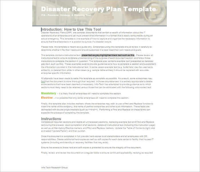 disaster recovery plan template pdf - 28 images - disaster - disaster recovery plan template