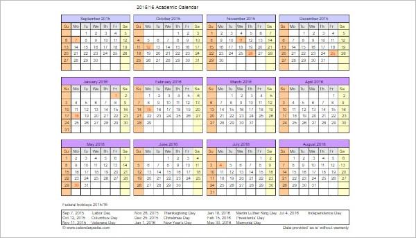25+ Free Printable Calendar Templates - academic calendar template