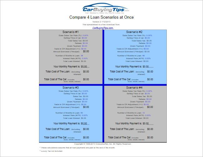 Spreadsheet Templates - Free Word, Pdf, Excel Format - auto loan calculator