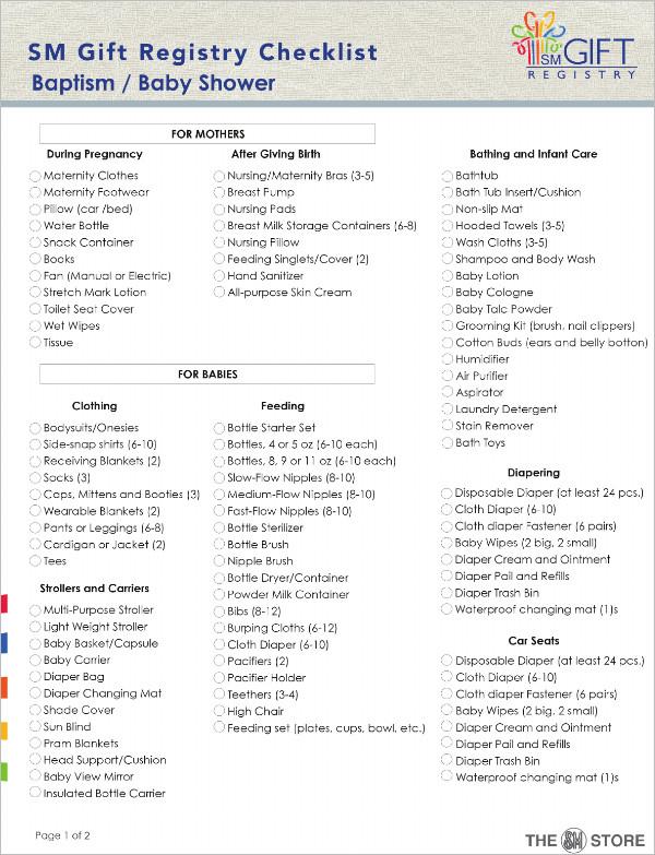 Checklist Template - Free Word, PDF Documents Download Creative - sample baby shower checklist