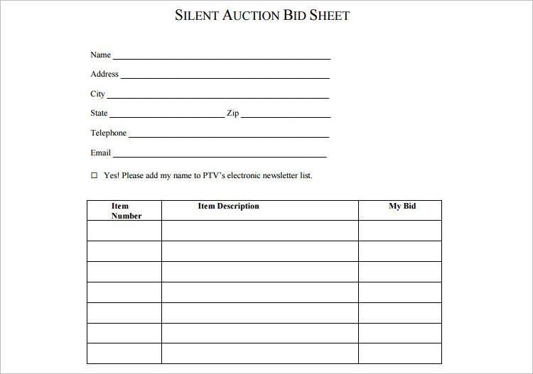 12+ Silent Auction Bid Sheet Templates Free Word, Excel, PDF Formats