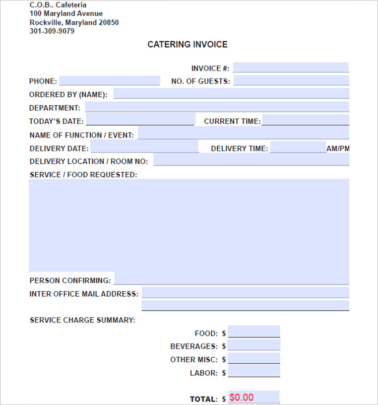 Download Catering Invoice Template Word rabitahnet - catering invoice template excel