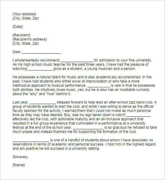 55+ Recommendation Letter Template Free Word, PDF Formats - academic recommendation letter