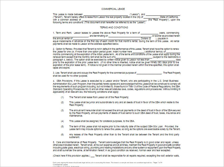 sample commercial lease agreement hitecauto - lease agreement form