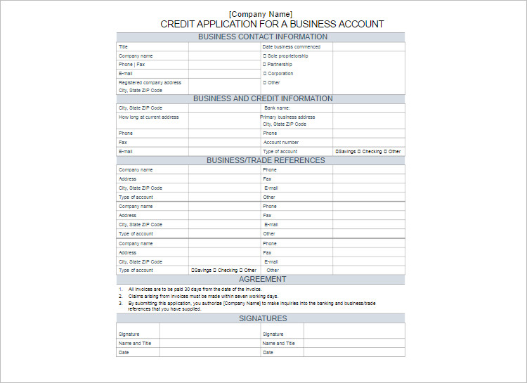 24+ Credit Application Form Templates Free Word, PDF Formats - credit application form