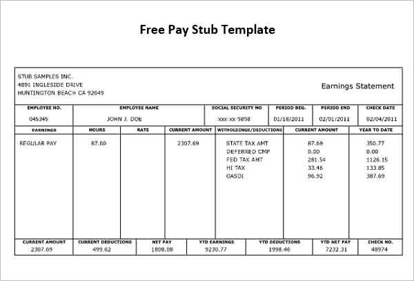 Pay Stub Template - Free Word, PDF, Excel Format Documents - check stub template
