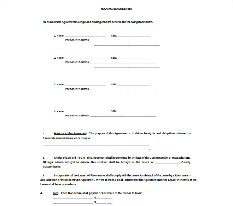 roommate rental agreement hitecauto - room rental agreements