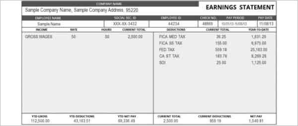 Pay Stub Template - Free Word, PDF, Excel Format Documents - pay stub format