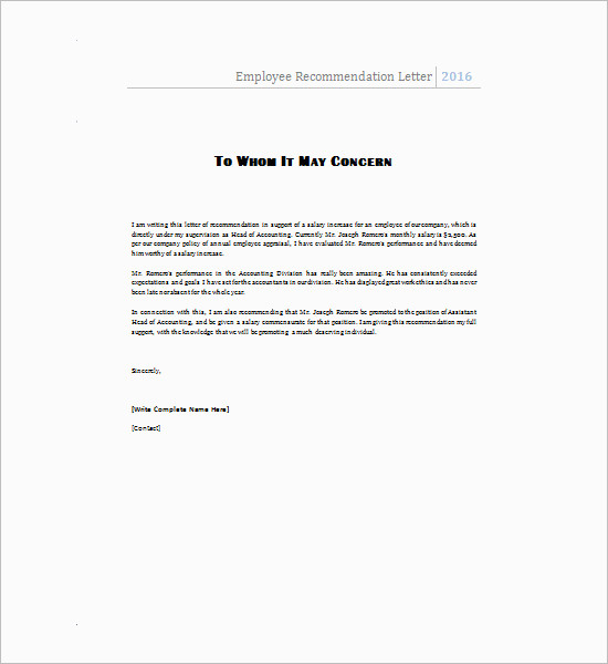 Recommendation Letter Template - Free Word, PDF Format Creative - work recommendation letters