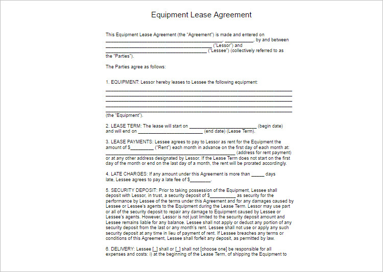 Lease Agreement Template - Free Word, PDF Documents Creative - equipment lease agreement template