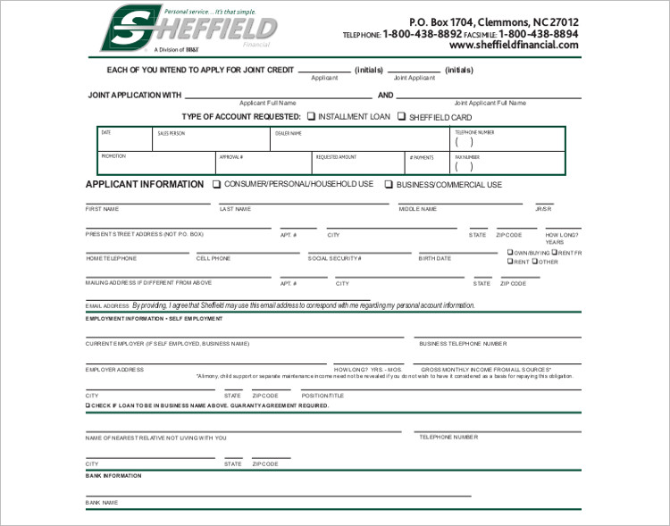 Credit Application Form Template - Free Word, PDF Download - application form in doc