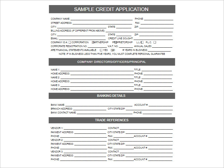 24+ Credit Application Form Templates Free Word, PDF Formats - general application form