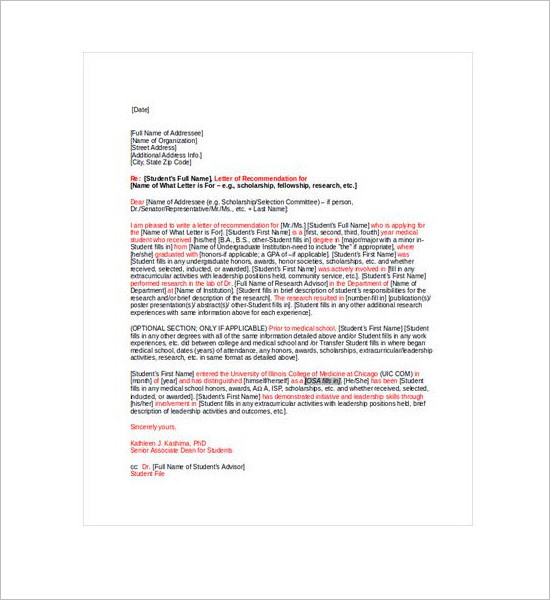 Recommendation Letter Template - Free Word, PDF Format Creative - medical school recommendation letter