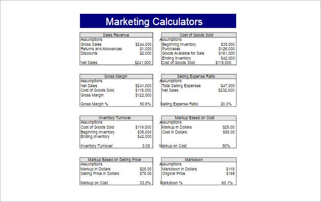 Spreadsheet Templates - Free Word, PDF, Excel Format Creative - marketing calculator template