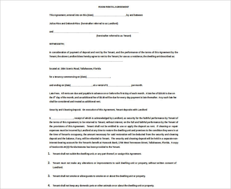 16+ Room Rental Agreement Template Free Word, Doc, PDF Formats