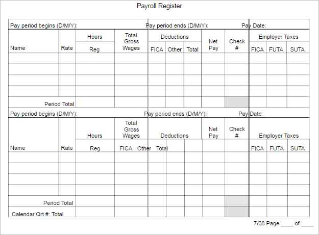 62+ Free Pay Stub Templates Downloads - Word, Excel, PDF, Doc - payroll register template
