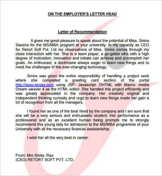 Recommendation Letter For A Promotion The Balance Recommendation Letter Template Free Word Pdf Format
