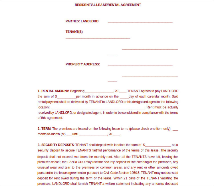 Room Rental Agreement Template - Free Word, Form, Documents - rent contract templates