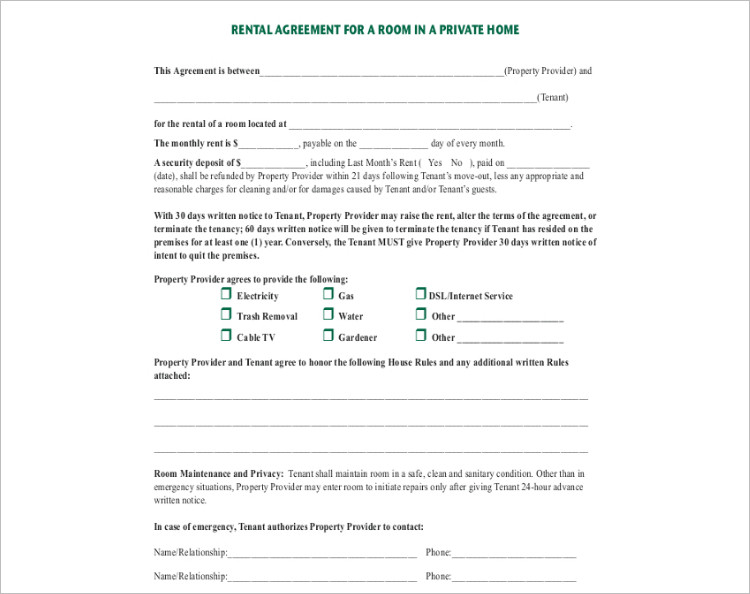 16+ Room Rental Agreement Template Free Word, Doc, PDF Formats - lease agreement template word