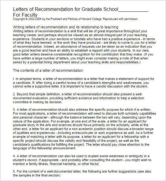 Sample Recommendation Letter For Graduate School Recommendation Letter Template Free Word Pdf Format