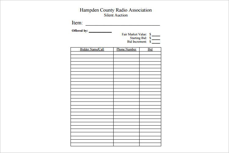 12+ Silent Auction Bid Sheet Templates Free Word, Excel, PDF Formats - sheet template
