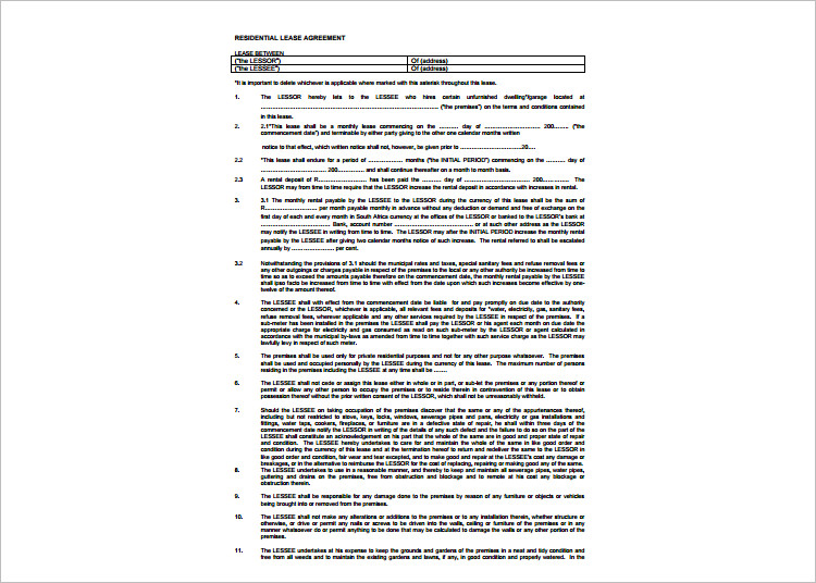Lease Agreement Template - Free Word, PDF Documents Creative - lease template word