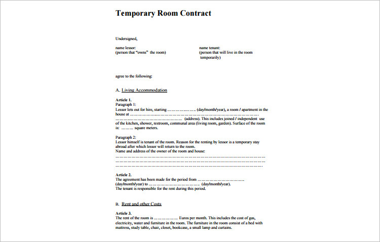 Room For Rent Contracts  ResumeTemplatePaasproviderCom