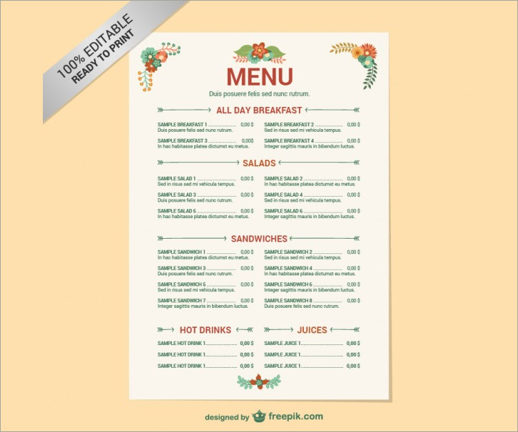 35+ Free Menu Templates PDF, Word Documents Download