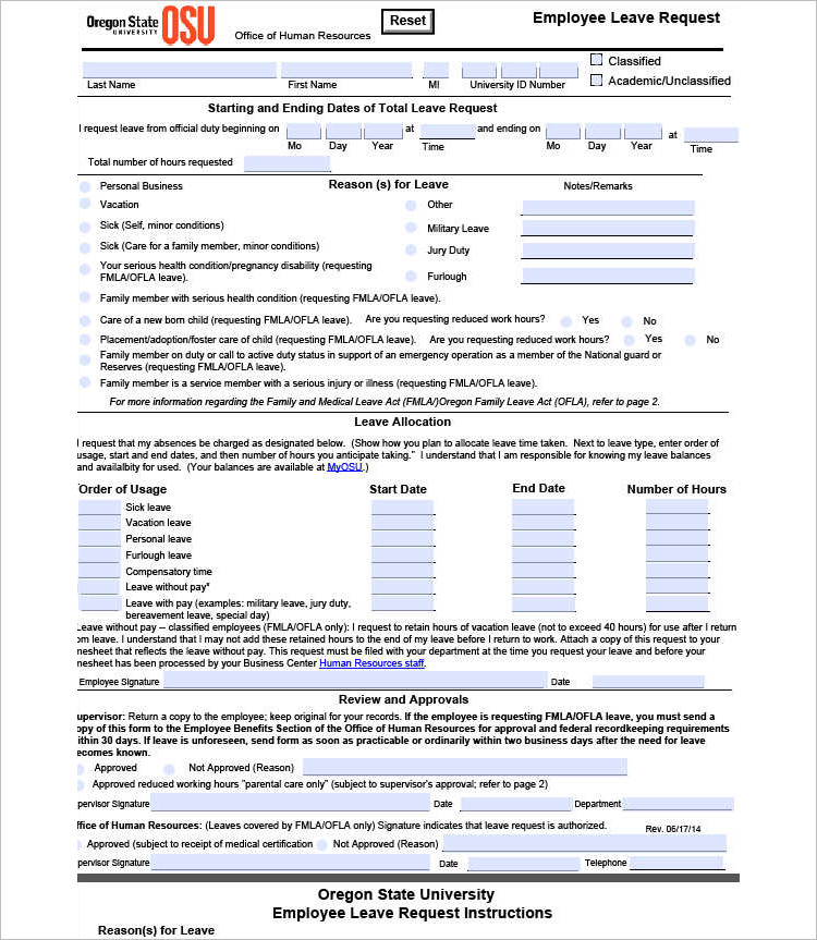 Leave Request Form Leave Leave Of Absence Request Form Template - leave form templates