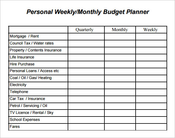 17+ Simple Weekly Budget Templates Free Excel, Word, PDF Formats