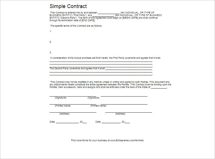 8+ Contract Template Free Word, PDF, Doc Formats - contract template word