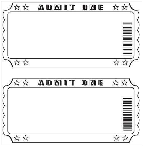 Blank Ticket Template Event Tickets Perforated Paper Shop Blank - admit one ticket template