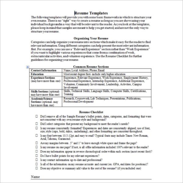 100+ Resume Format Templates Free Word, PDF, Doc Formats
