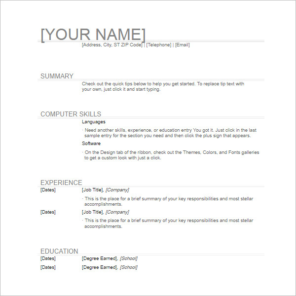 Write General Resume How To Write A Resume Correctly Job Interview Tools  134 Basic Resume Templates