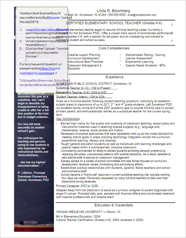 29+ Teacher Resume Templates Free PDF, Word Documents