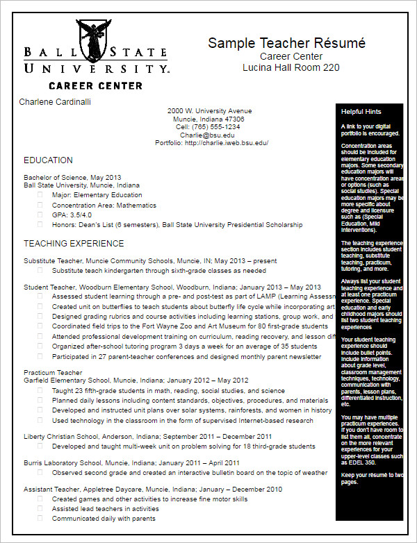 29+ Teacher Resume Templates Free PDF, Word Documents