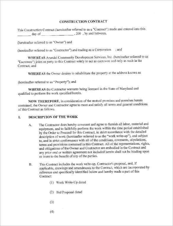 31+ Free Construction Contract Templates Doc, Word, PDF Samples