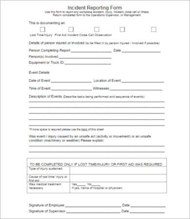Incident Report Form Free \ Premium Templates Creative Template - incident reporting template