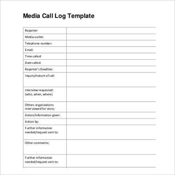16+ Call Log Templates Free Word, Excel, PDF Formats - log templates excel