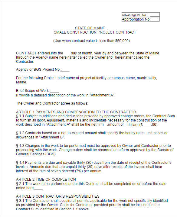 Construction Contract Sample Supplementaleement Construction - contract template doc