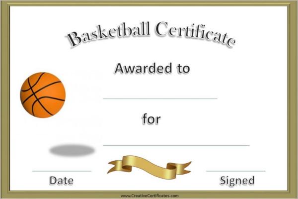 14+ Basketball Certificate Templates Free  Premium