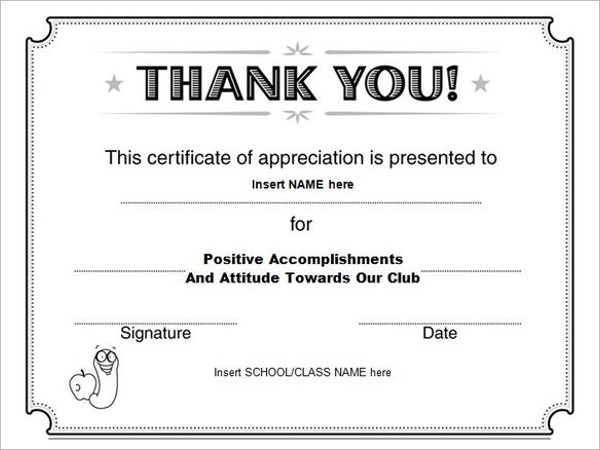 Thank You Certificate Template Certificate Of Appreciation 02 30 - blank certificates template