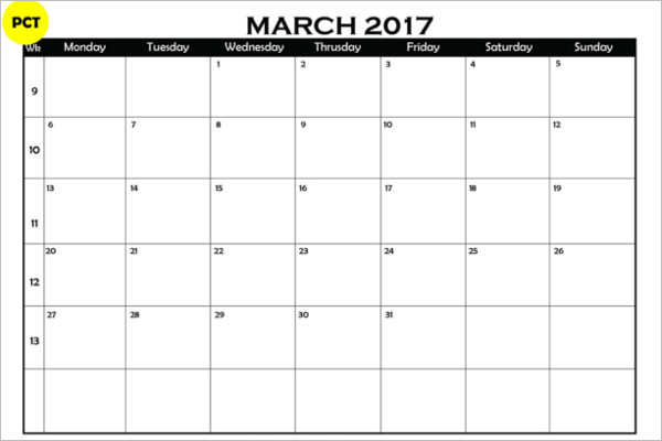 Blank Calendar Templates Free  Premium Designs