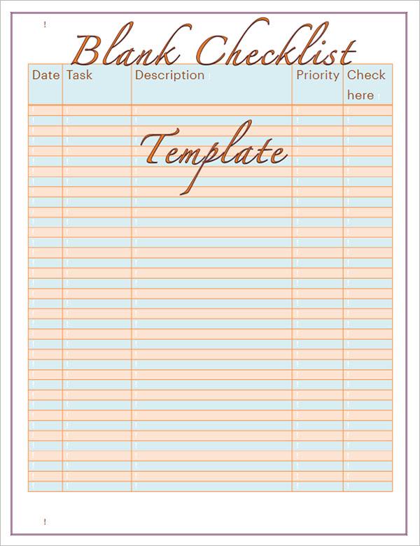 37+ Blank Checklist Templates Free Word, Excel, PDF Formats