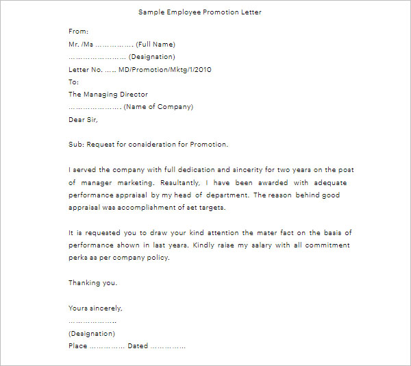 Promotion Letter Format In Word Gallery - letter format formal example - request for promotion consideration