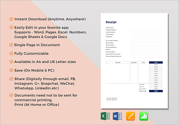 21+ Hotel Receipt Templates Free PDF, Word, Excel Samples