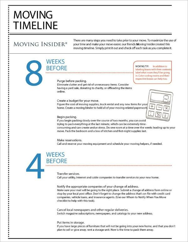 46+ Moving Checklist Templates Free PDF, Word, Excel Formats - moving checklist template
