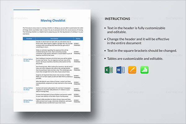 46+ Moving Checklist Templates Free PDF, Word, Excel Formats - moving checklist template
